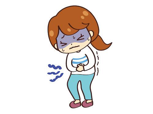 下利、腹痛で苦しむ女性